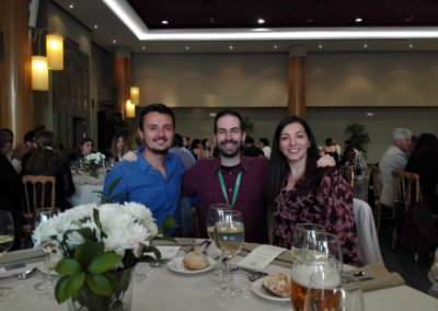 Ivan, Berni and Eva in the gala dinner of Biotec Conference, June 2019, Vigo